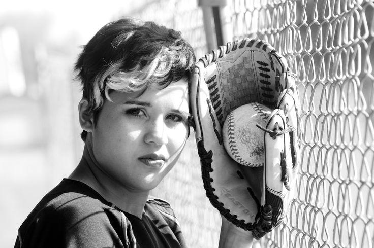 Black and white softball photography