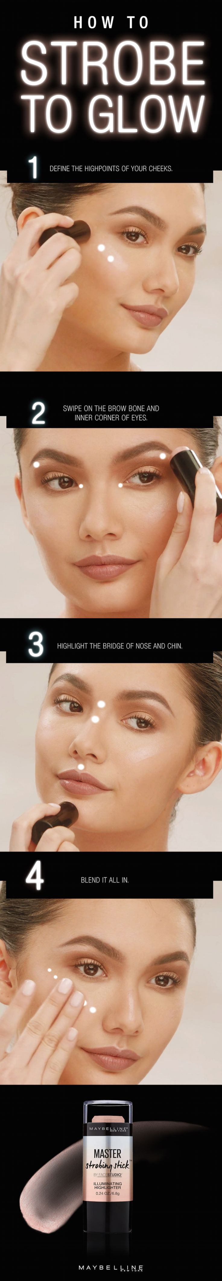 Maybelline Master Strobing Stick lights up your best features. This step-by-step tutorial will show you how to make it happen. How To: Apply to high points of your face, blending with fingertips. The illuminating shimmer completes any summer makeup look. Bring a simple makeup look to the next level or go full glam by layering on the highlight. Get ready to flaunt effortless dimension and stunning radiance. Let's strobe to glow for the holidays.