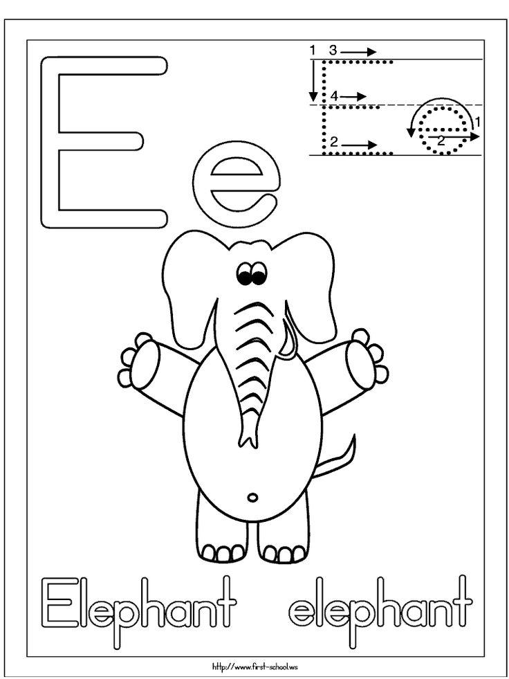 E for Elephant coloring sheet