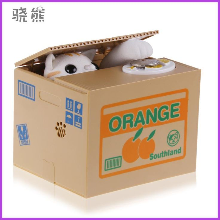 1pcs 2017 Hot Sale Automated Cat Steal Coin Bank Piggy Bank Moneybox Money Saving Box Gifts digital coin jar alcancia de gato