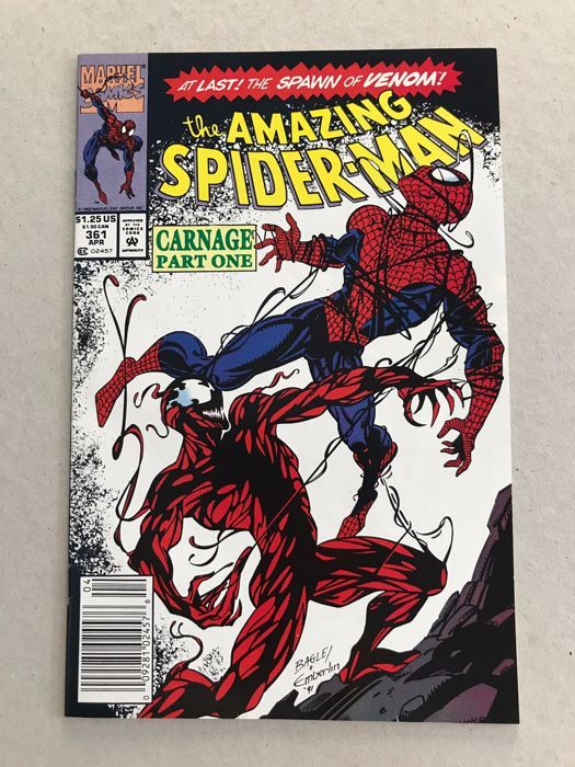 Catawiki online auction house: Amazing Spider-Man #361 - 1st & 2nd Print - 1st Appearance Of Carnage x 2 - SC - 1992