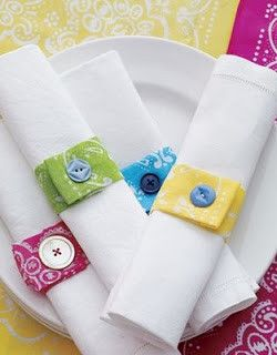 Turn scrap fabrics and buttons into napkin rings!