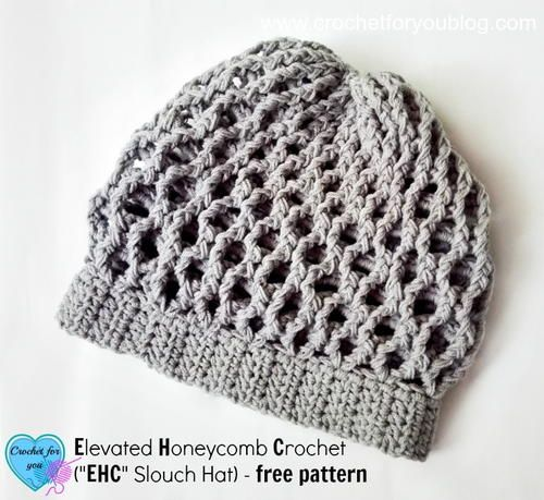 Elevated Honeycomb Crochet Slouch Hat – Crochet Hats and Hoods