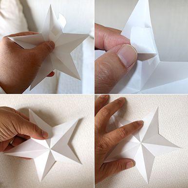 壁に飾り付ける 立体的な星形オーナメントの作り方