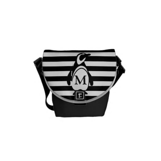 Penguin and Stripes Messenger Bag