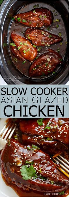 Fall apart tender Slow Cooker Asian Glazed Chicken filling your house with sweet, asian aromas, perfectly slow cooked in an incredible glaze!   http://cafedelites.com