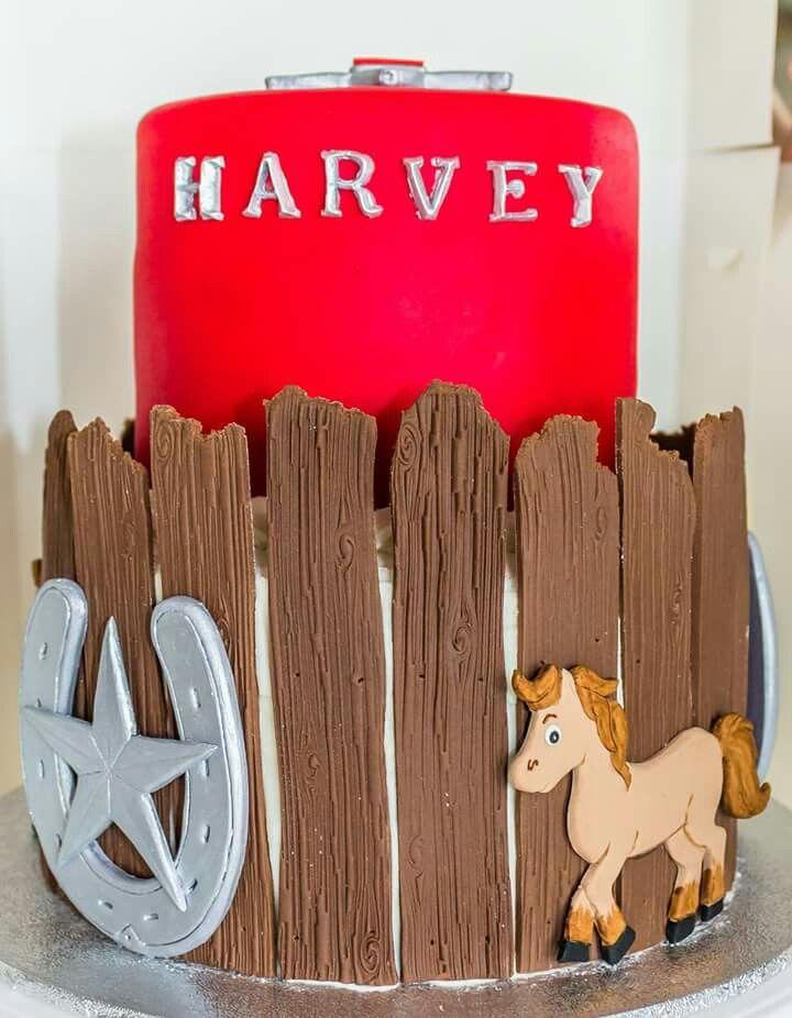 Cowboy horse corral cake