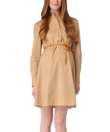 Take a look at this Camel Ivanka Belted Maternity Dress by Rosie Pope Maternity on #zulily today! $89.99