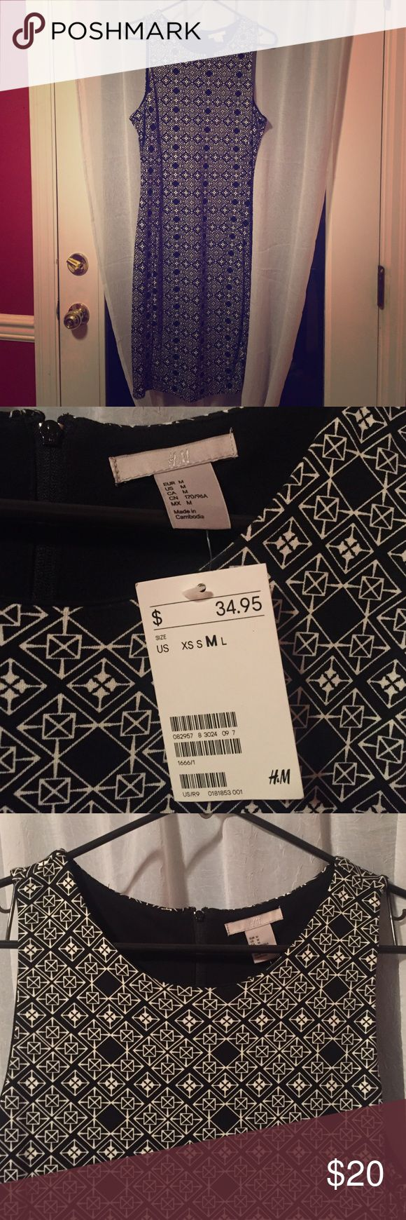 New w/ Tags Geometric Pattern Bodycon Dress Never worn black and white geometric pattern dress. Slightly longer cut than your typical bodycon dress, hits at or below the knee. Zipper in the back, high neck. You can dress it up or down! Viscose, polyester, and elastane. H&M Dresses Midi