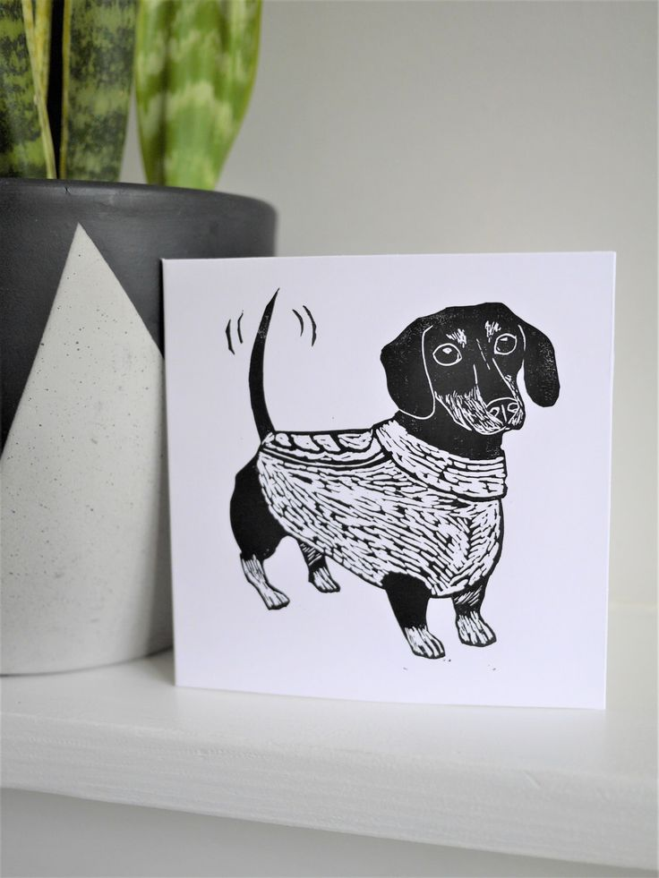 Sausage Dog Dachshund Card Hand Printed Lino Print Greeting Card Sausage Gift Dog Gift /// Sausage Roll Neck by TheBlackPugPress on Etsy https://www.etsy.com/uk/listing/509277393/sausage-dog-dachshund-card-hand-printed