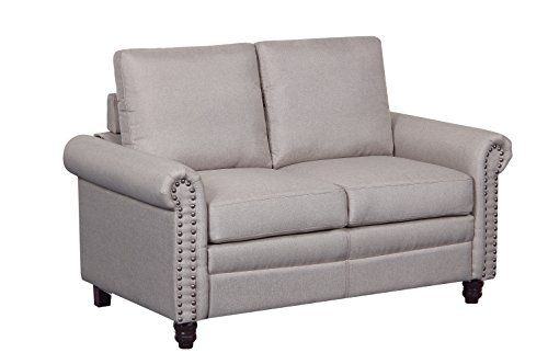 Container Furniture Direct S5277 L Dove Linen Upholstered Modern Loveseat With Nailhead Trim Beige Love Seat Furniture Furniture Direct