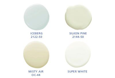 Benjamin Moore colors: Iceberg 2122-50, Silken Pine 2144-50, Misty Air OC44, Super White