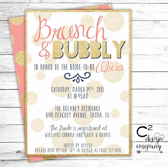 Brunch & Bubbly Coral Bridal Shower Invitation by cSquaredDesignCo