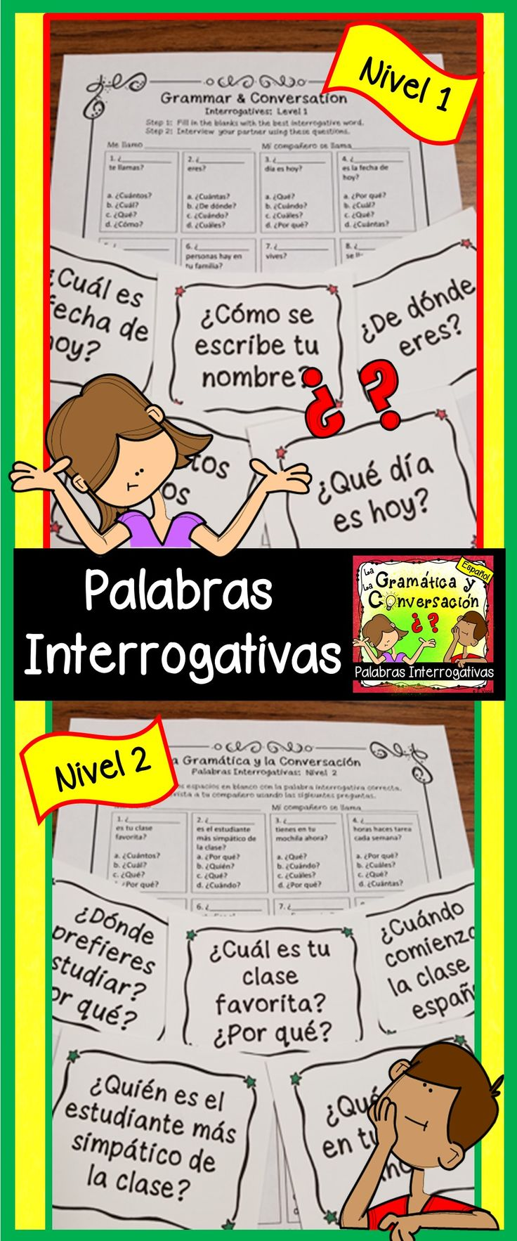 Palabras Interrogativas:  Help students become more proficient in Spanish by using these Conversation Interviews and Conversation Cards!  Directions are included for both Level 1 & Level 2.