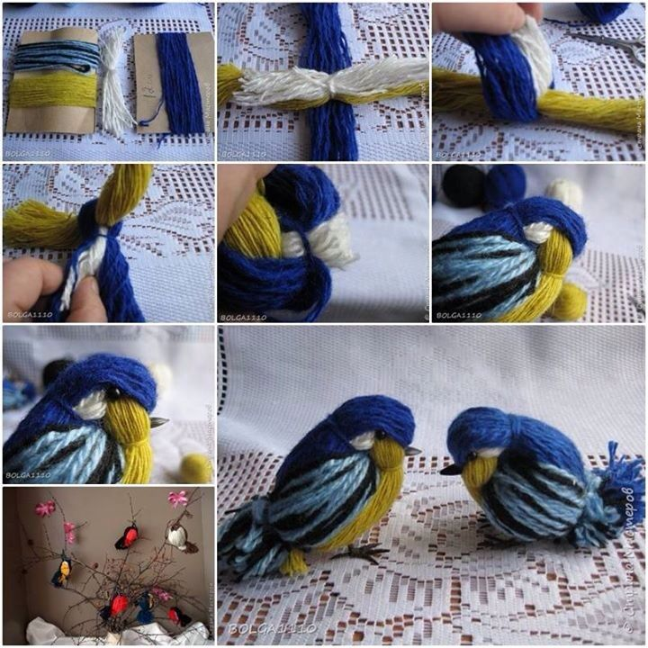Cute birdies made from yarn!