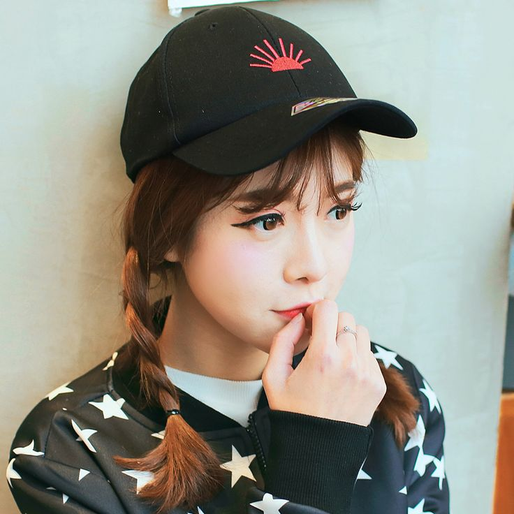 Sun Embroidered baseball cap hip hop style black caps for girls
