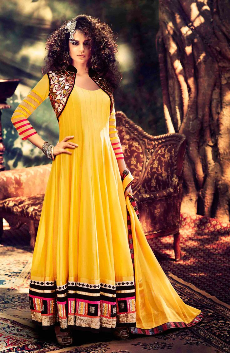 #KANGANA #RANAUT TANU WEDS MANU YELLOW #ANARKALI #SALWAR #SUIT #FRESH #FASHION #BUY > SHOPSDEAL.IN