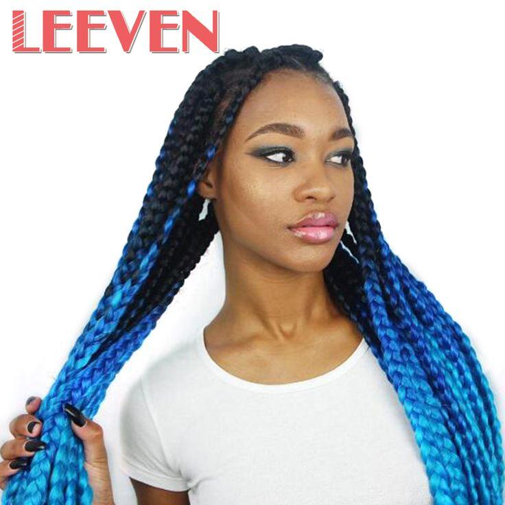 Leeven 24inch Jumbo Braids Kanekalon Ombre Synthetic Braiding Hair Crochet Hair Extention Blue White Black Burgundy 1PCS #Affiliate