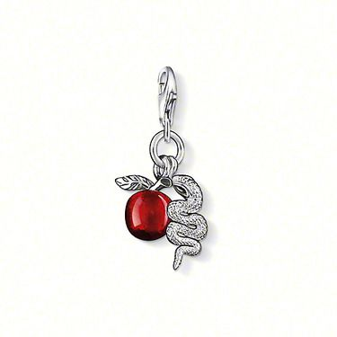 """THOMAS SABO Charm pendant """"Snake"""" with lobster clasp 925er Sterling silver, red- and black-enamelled. This double Charm, comprising an apple and a snake, is the embodiment of seduction. Size: 2.0 cm"""