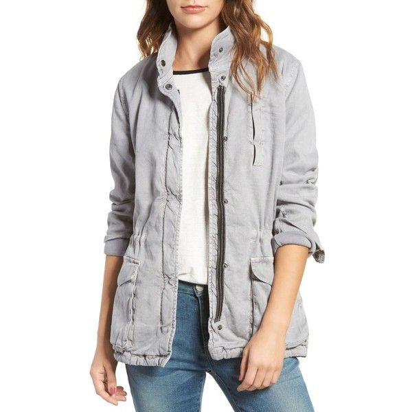 Women's James Perse Stretch Twill Utility Jacket (€450) ❤ liked on Polyvore featuring outerwear, jackets, fog, james perse jacket, stitch jacket, james perse, utility jacket and elbow patch jacket