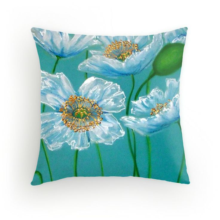 White Poppies cushion available in 3 different sizes! #decor #cherieroedirksen #cushion
