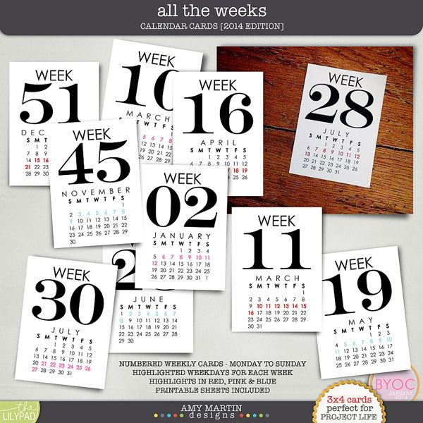 Printables for Project Life - All the Weeks Calendar Cards (M-S).  S-S also available!