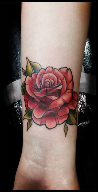 Neo-traditional rose cover-up by Jolene Sherrard at Adorned Tattoo, Dorset UK. https://www.facebook.com/adornedtattoo