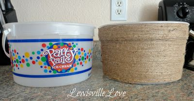Lewisville Love: Jute Twine to Up-cycle and Organize    jute twine and ice-cream buckets