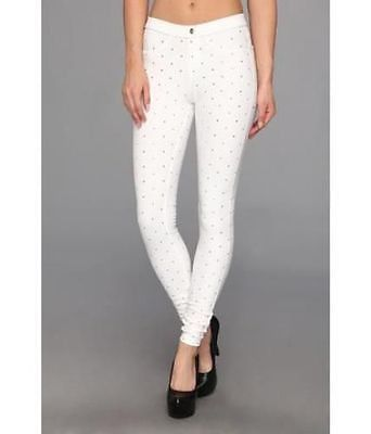 HUE NWT Studded Denim Leggings U14271 White, Size S