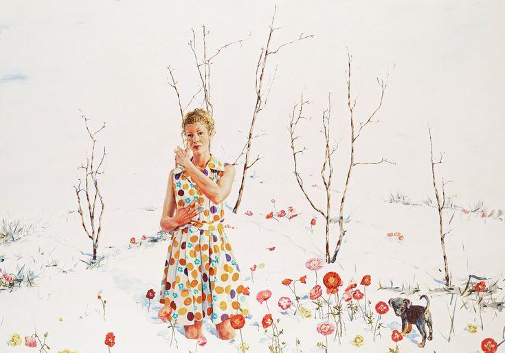"""LINN FERNSTRÖM, """"OMHÅLLA"""". Signerad Linn Fernström och daterad 2008 a tergo. Duk 210 x 300 cm."""