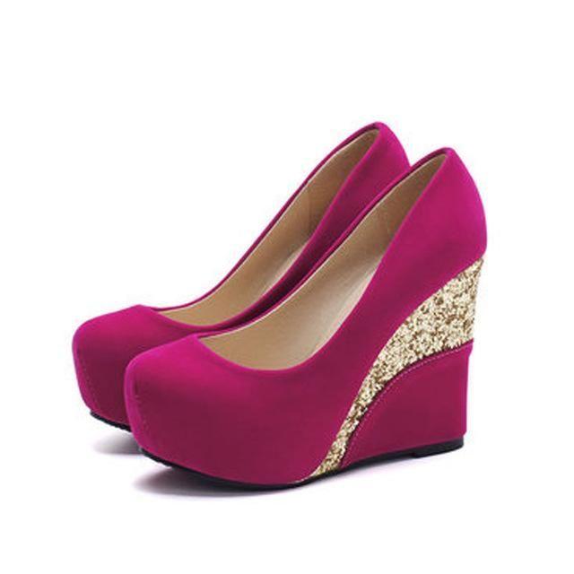 d0e2d32e5b Casual Platform Vintage Flock Glitter Patchwork High Heels Women ...