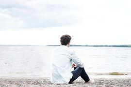 비치, 남자, 바다, 야외 활동, 모래, 해변, 좌석, 하늘
