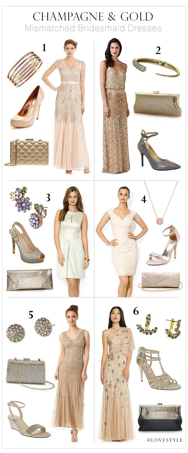 Champagne and Gold Mismatched Bridesmaid Dresses #LoveStyle