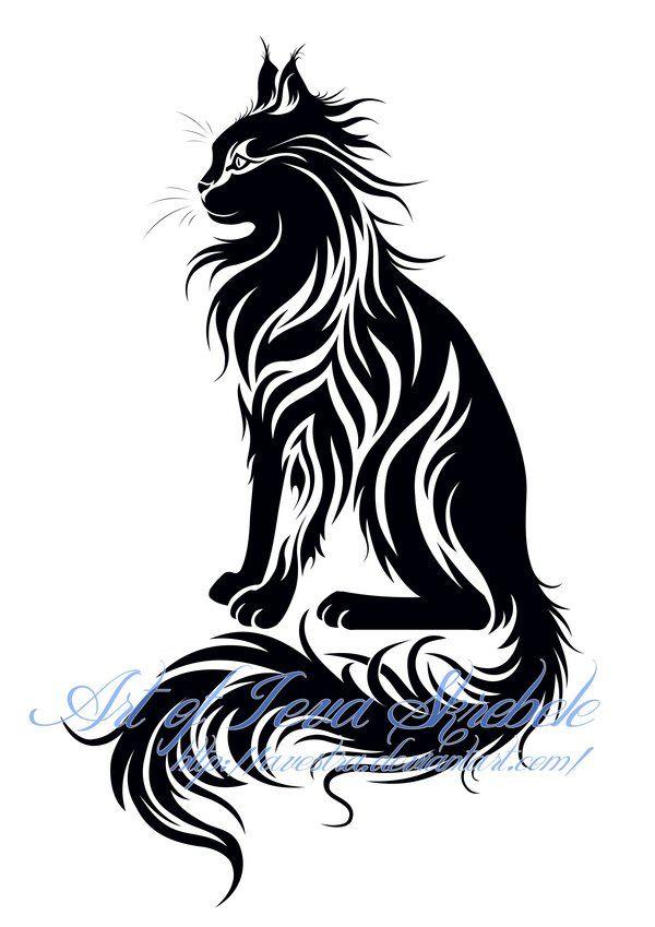 Sitting Tribal Cat Tattoo Design