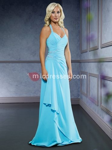 ice blue briesmaid dresses | ... ice blue chiffon pleated beading floor Bridesmaid Dress BD249391