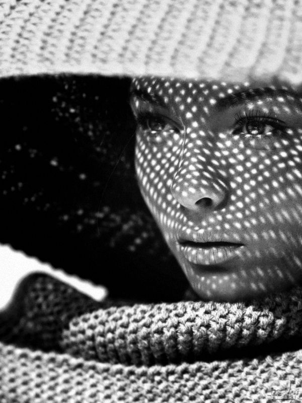 beautiful portrait! I love the composition with the knitted items, unusual...