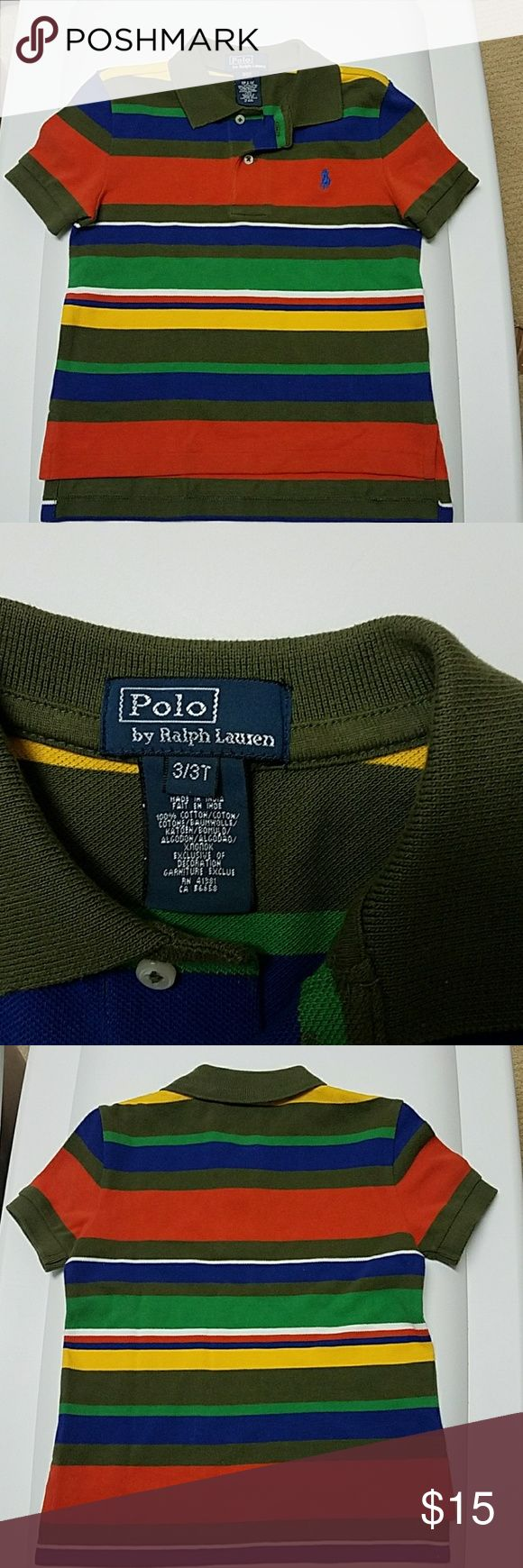 Polo by Ralph Lauren Striped Polo shirt 3T In great condition.  Worn a few times and has been washed. 100% cotton. Polo by Ralph Lauren Shirts & Tops Polos