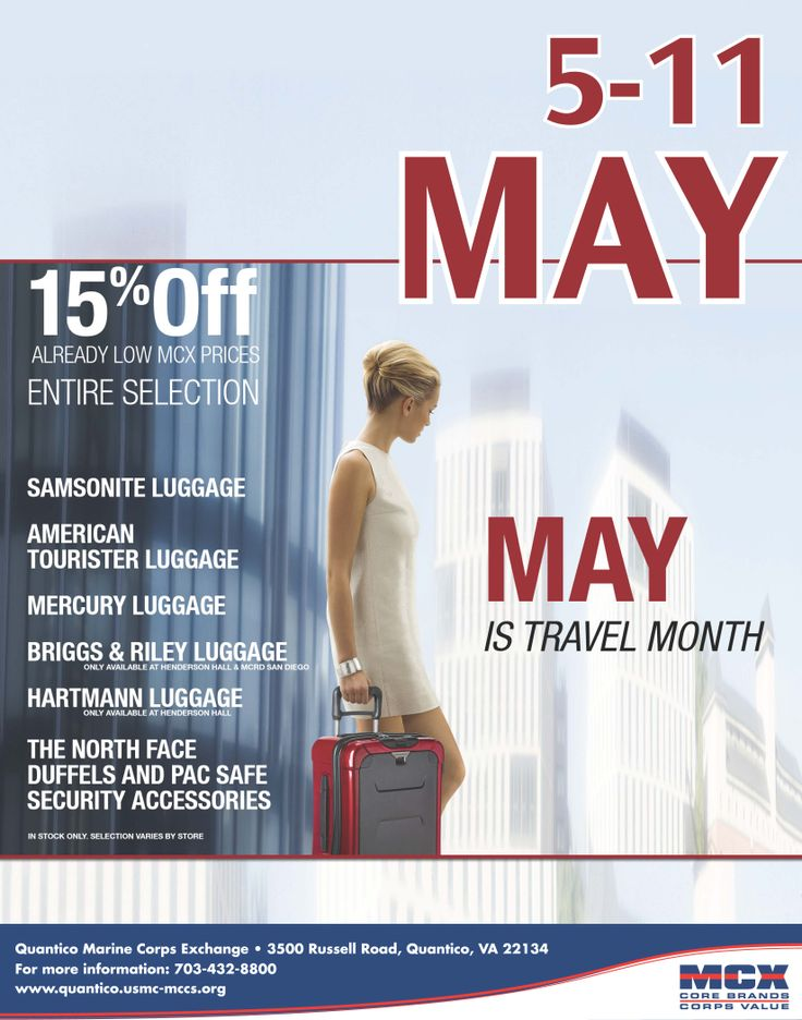 May is Travel Month! Save big at your Quantico MCX!
