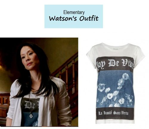 """March 7, 2014 @ 9:19 pm   Lucy Liu as Joan Watson inElementary-""""Ears to You"""" (Ep. 217). Watson's Tee:AllSaints Graphic Tee sold out. MoreElementaryStylehere. Source:CBS/ AllSaints (product image) P.S.Updates onPINTEREST."""