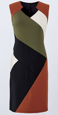 Hearts of Desire Dress from Monroe and Main. Angles of color blocking keep the eye moving for a pleasing balance.
