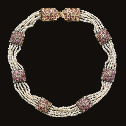 India | Necklace; gold, diamond, ruby, enamel and freshwater pearls.  ca. 19th century.  Most probably from Jaipur. |