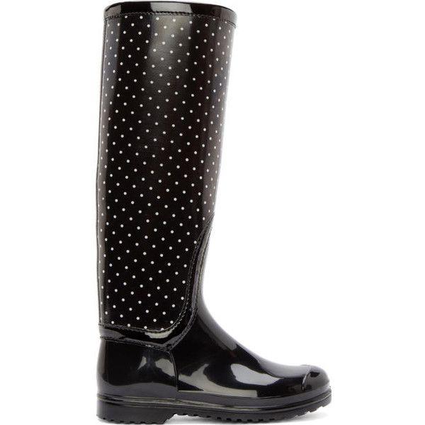 Dolce and Gabbana Black and White Polka Dot Rain Boots (€280) ❤ liked on Polyvore featuring shoes, boots, black, white and black boots, print rain boots, black rain boots, dot rain boots and black wellington boots