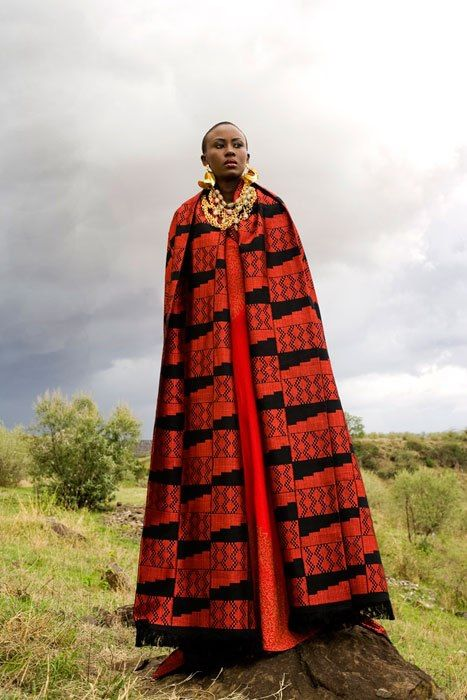 woman in beautiful cape, Africa