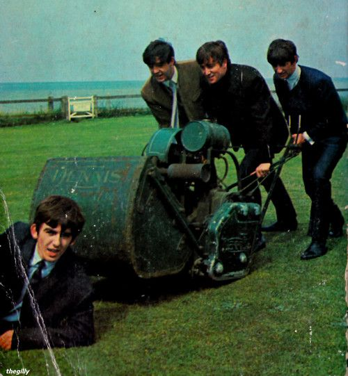 The Beatles: George volunteering to be run over by a hotel lawn-mower in Margate, Kent, England, July 1963