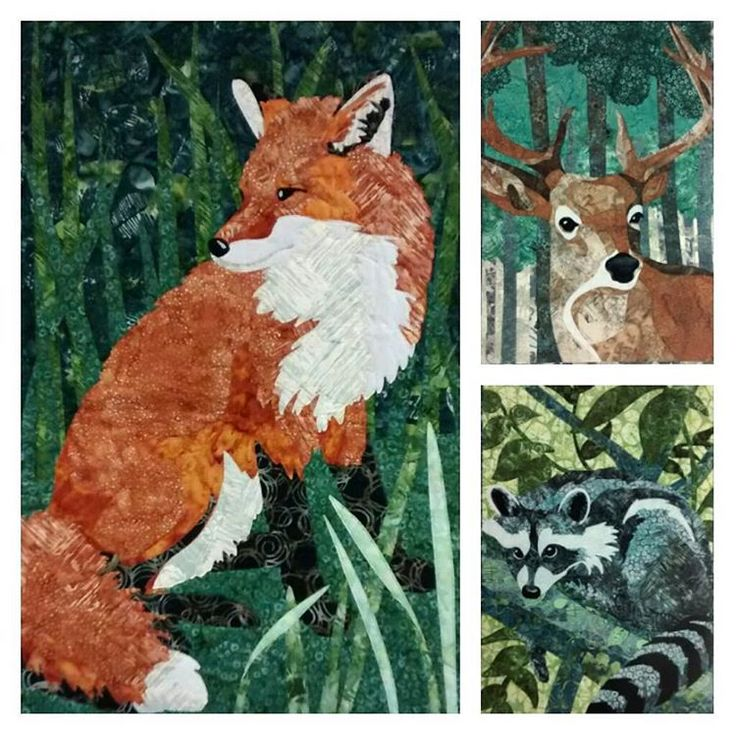 These laser-cut, pre-fused kits will enable you to make a stunning wall hanging in no time at all! Just fuse and sew! We like to call them vegan taxidermy.  #Quilty_Pleasures @hoffmanfabrics #HoffmanWild #OpenAndSew #LaserCut #PreFused #Fox #Deer #Racoon #Applique