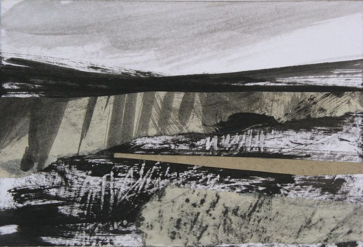 """Original art postcard by Janine Baldwin, acrylic and charcoal collage on card, 10x15cm (4""""x6"""") https://www.etsy.com/uk/listing/400958471/abstract-landscape-collage-acrylic?ref=shop_home_active_1"""