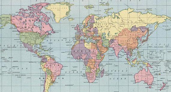 World map printable digital downloadVintage World Map High - new world time map screensaver free download
