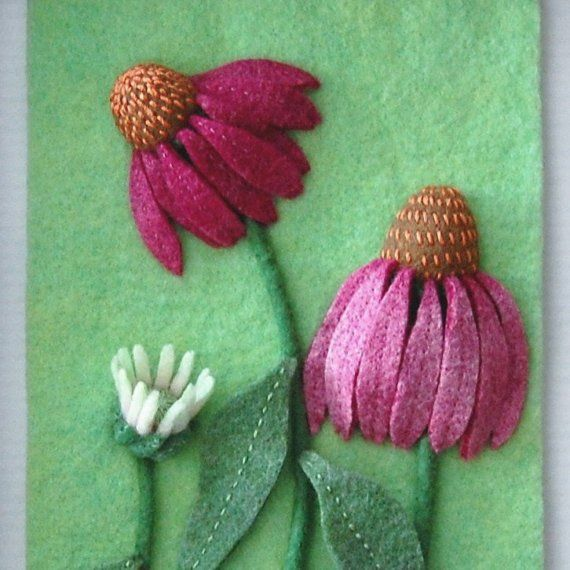 "Coneflowers ""Daydreams"" is a 5"" x 7"" felted wall hanging in a walnut stained wood and glass, 8"" x 9 1/2"" shadow box frame. $150"