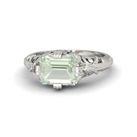 Emerald-Cut Green Amethyst 14K White Gold Ring | Acadia Ring | Gemvara