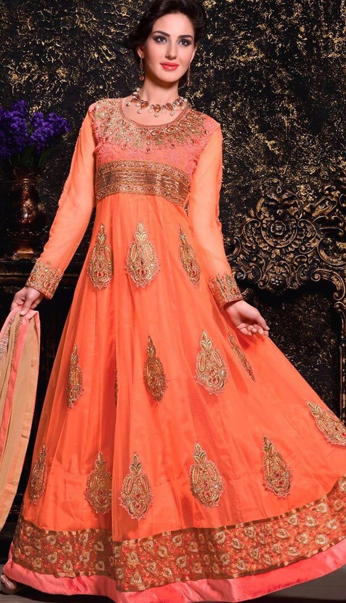 Fashionable Indian Orange Nett Anarkali Suit, Dress